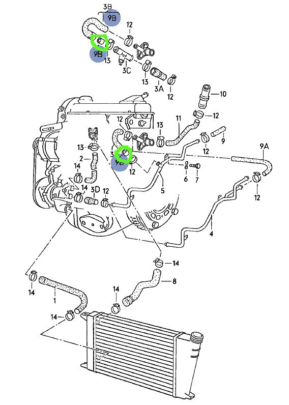 1999 bmw 323i water pump diagram vw water pump diagram changed the u-shaped bypass hose (ultimately goes to the ...