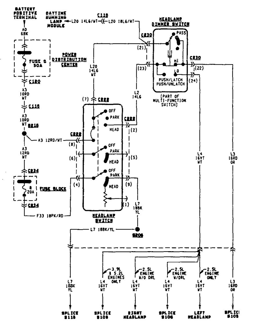 rear brake lights wiring diagram for 97 dakota my headlights, brake lights, and tail lights quit working ... #6