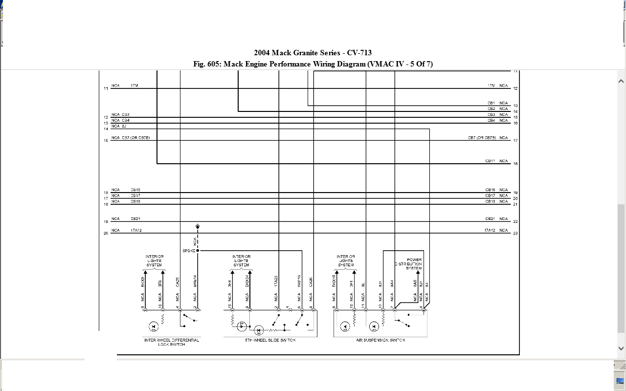 04 mack cv 713 ecm  engine wiring diagram