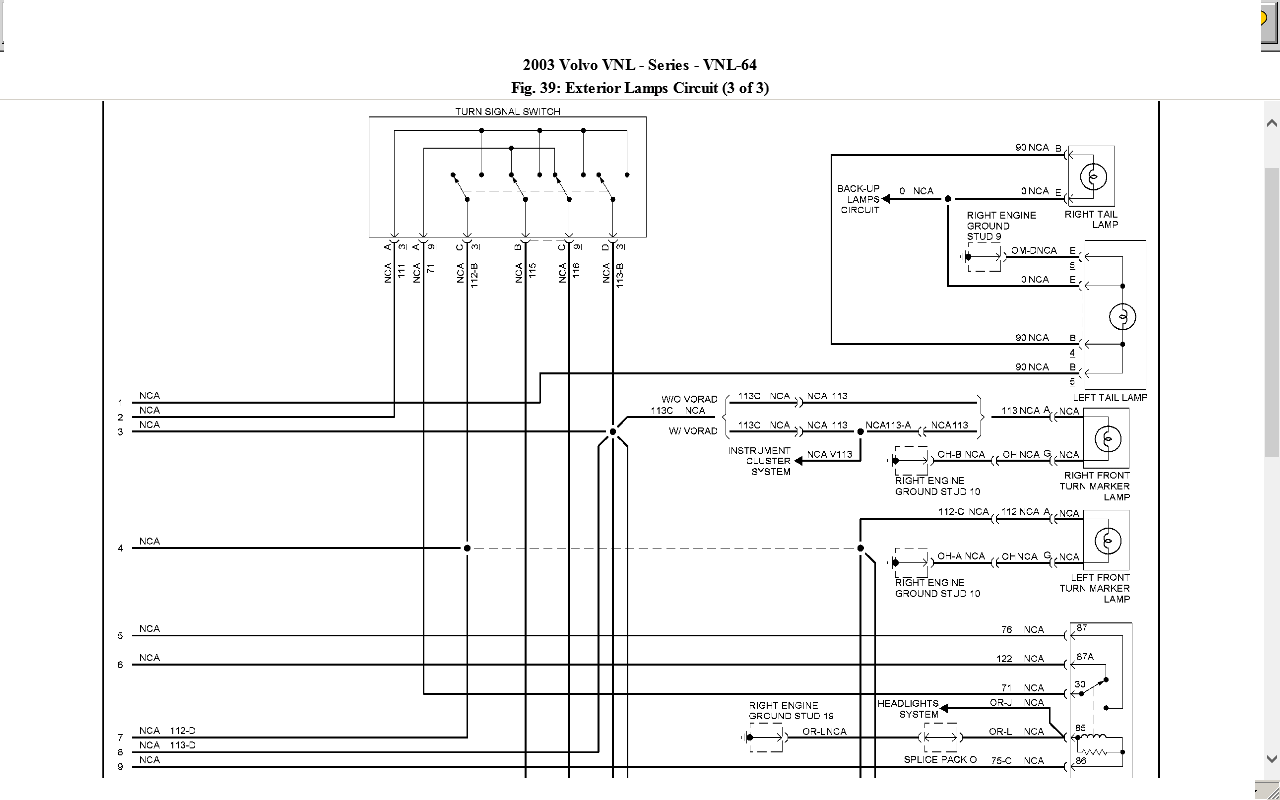2003 volvo 660 truck wiring diagrams volvo vnl truck wiring diagrams low air 2003 volvo vnl 660 w/ cummins n-14. tractor tail lights ...