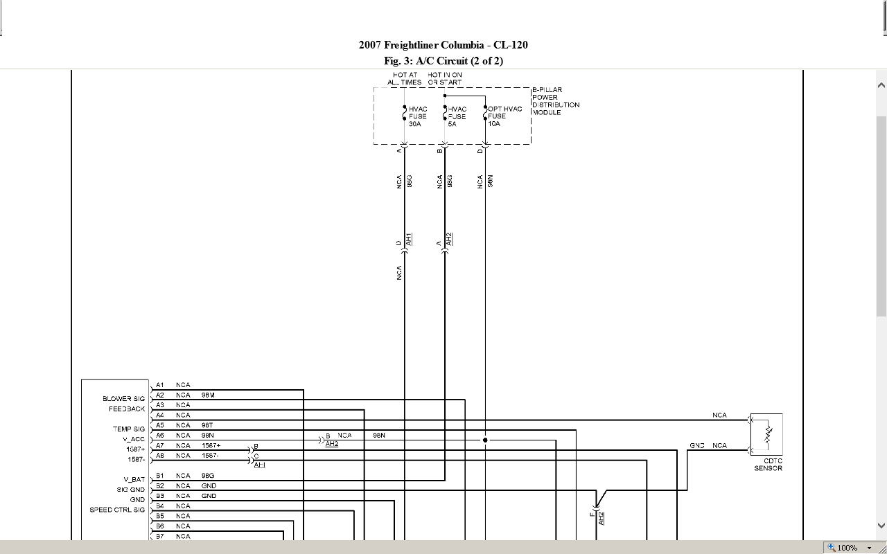 Have A 2006 Freightliner Cascadia  Need Wiring Diagram    Pin Out For The Front A  C Control Unit