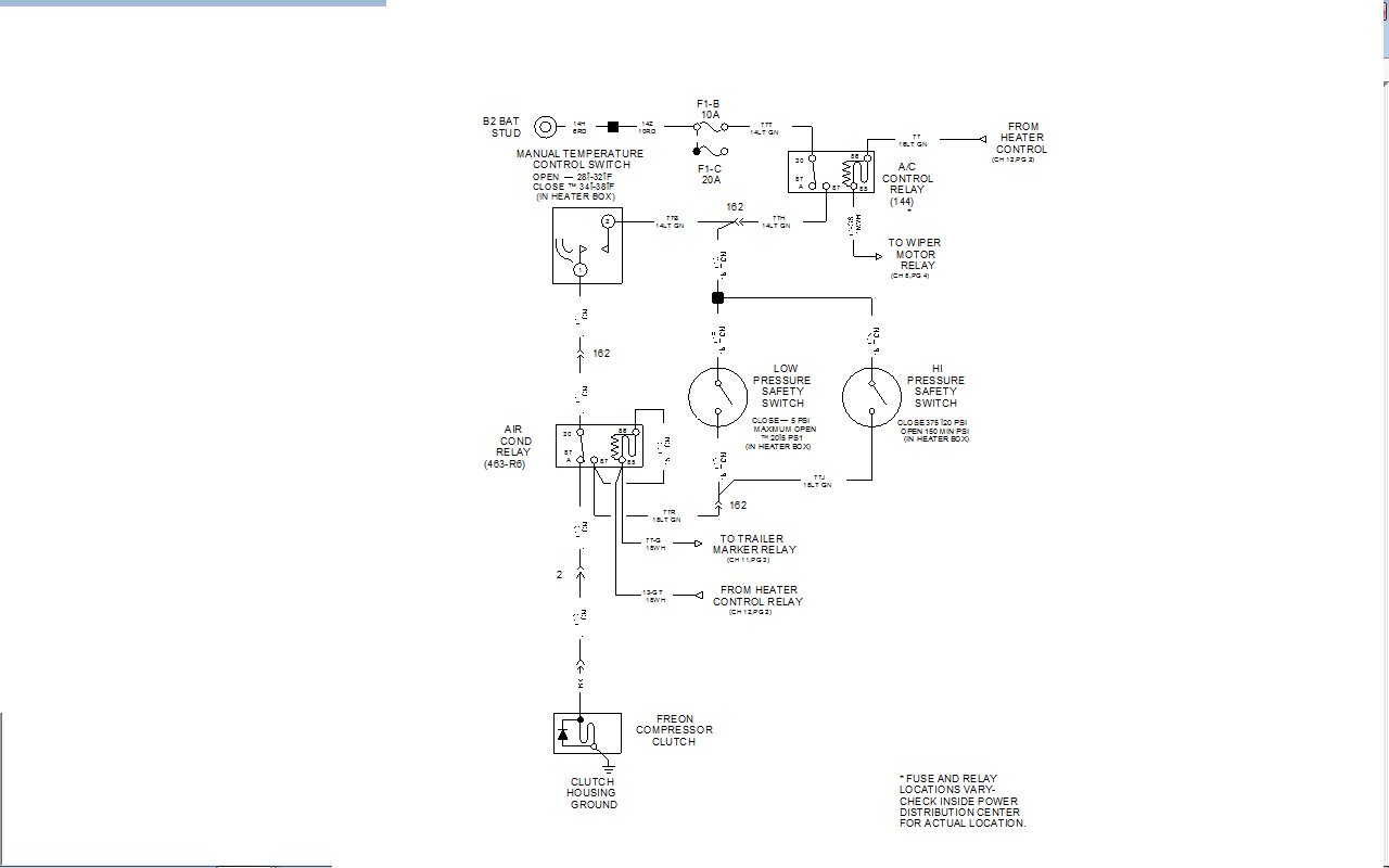 i need help getting a wiring diagram for the a c system on here is the ac diagram for your truck if your ac compressor clutch is not engaging and you know your system has freon in it the common failure on these