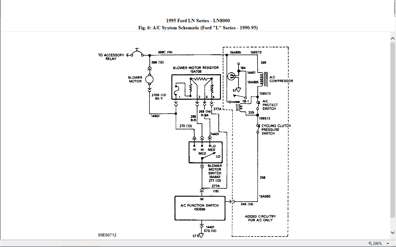 I Need A Wiring Schematic For The Blower Motor On A 1995 Ford L8000