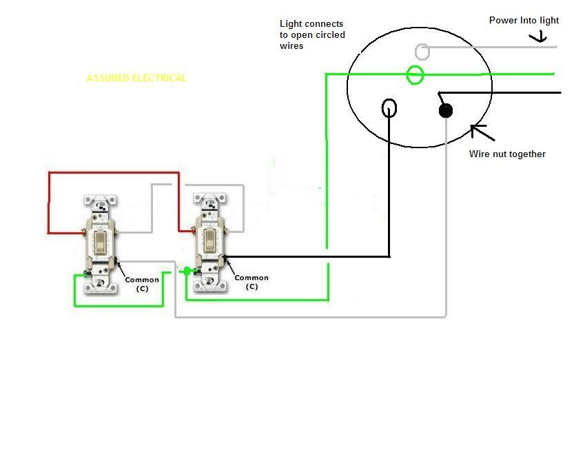 have one light on two 3 way switches  adding recessed lights  replaced 3 way switches with two