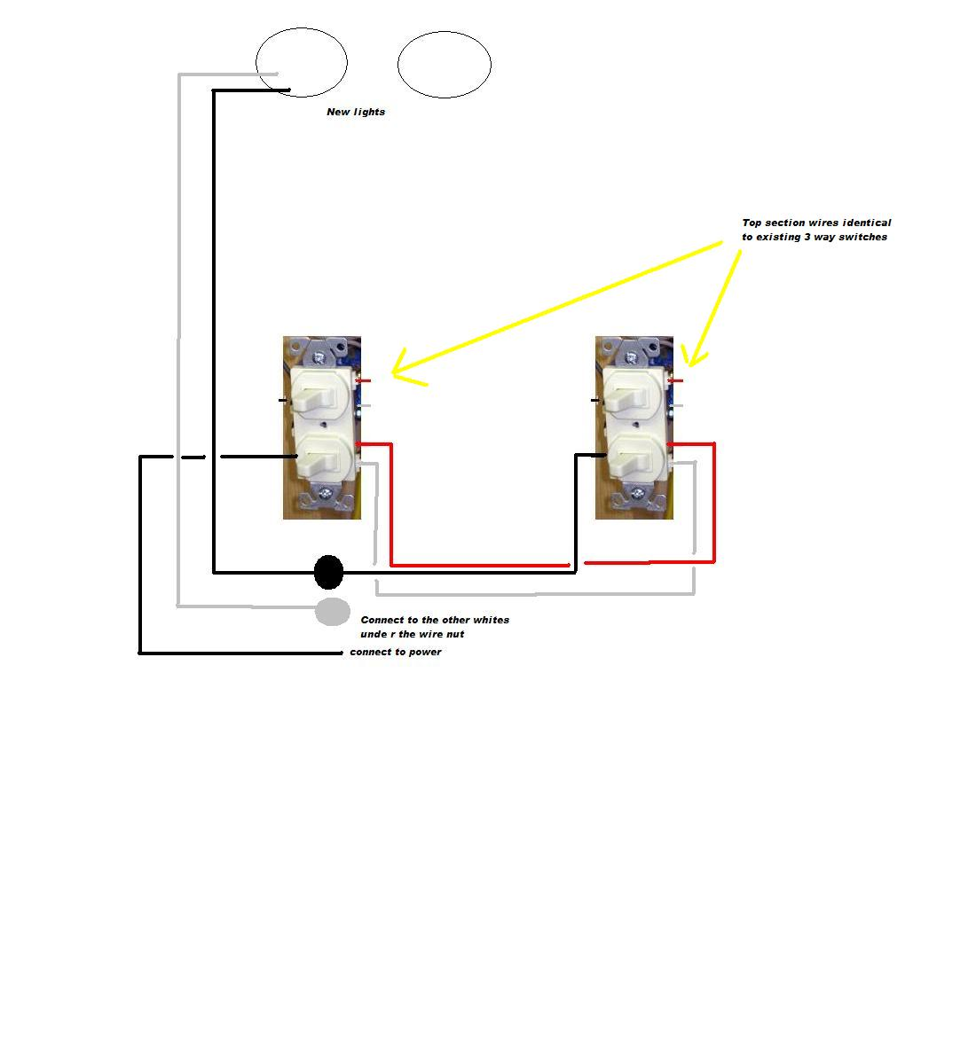 Double Stacked Single Pole Switch Wiring Wire Data Schema A Light Diagram Have One On Two 3 Way Switches Adding Recessed