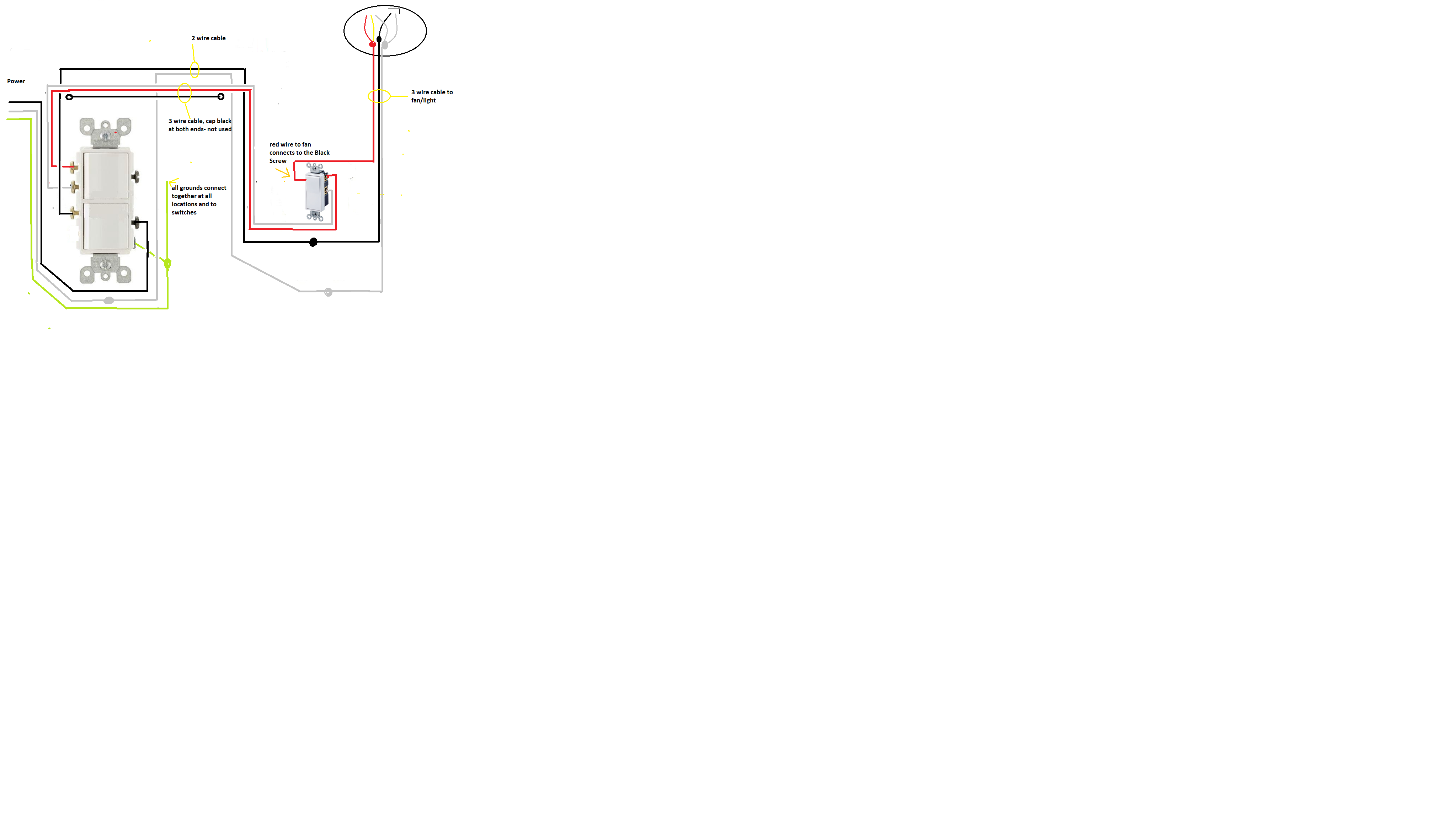 ok im adding exhaust fan light in my room have 2 leviton. Black Bedroom Furniture Sets. Home Design Ideas