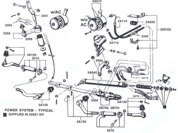 power steering return and supply pipe routing