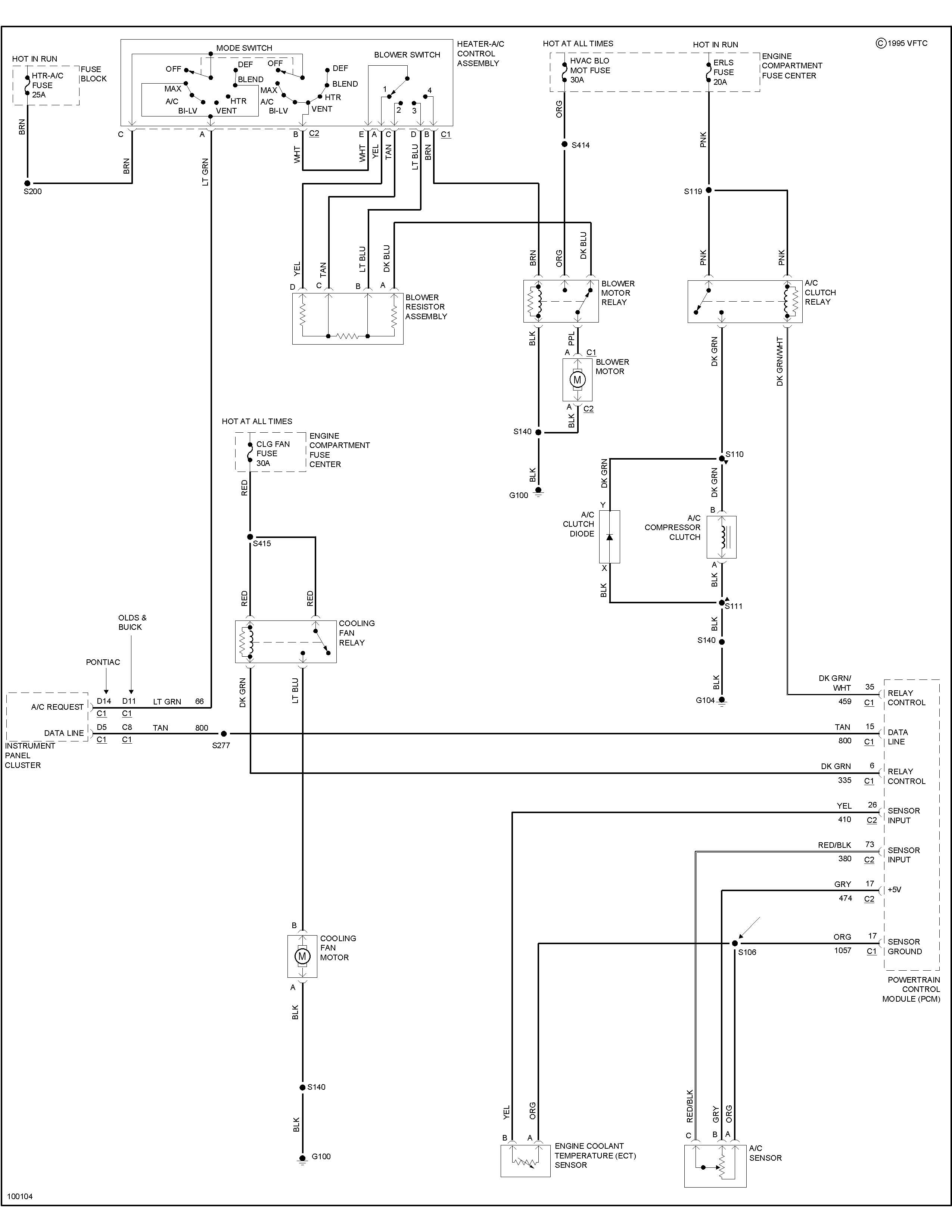 98 pontiac grand am 2 4l the cooling fans run all the time here s a wiring diagram