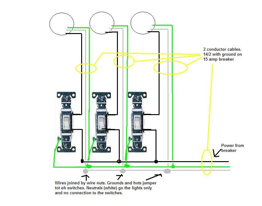 3 Gang 3 Way Light Switch Wiring Diagram : Gang switch wiring diagram free engine image for