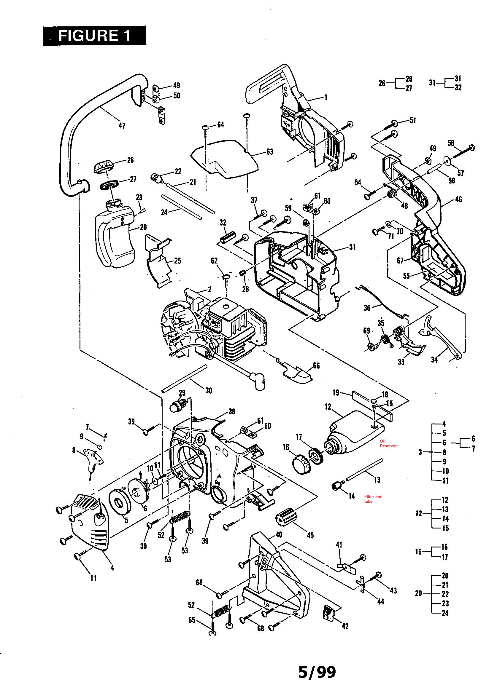 mccullough 16 u0026quot  chain saw automatic bar chain lubrication