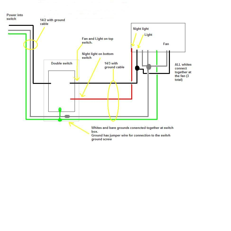 Wiring Diagram Vent Fan : I have a broan qtxe flt fan need simple diagram on