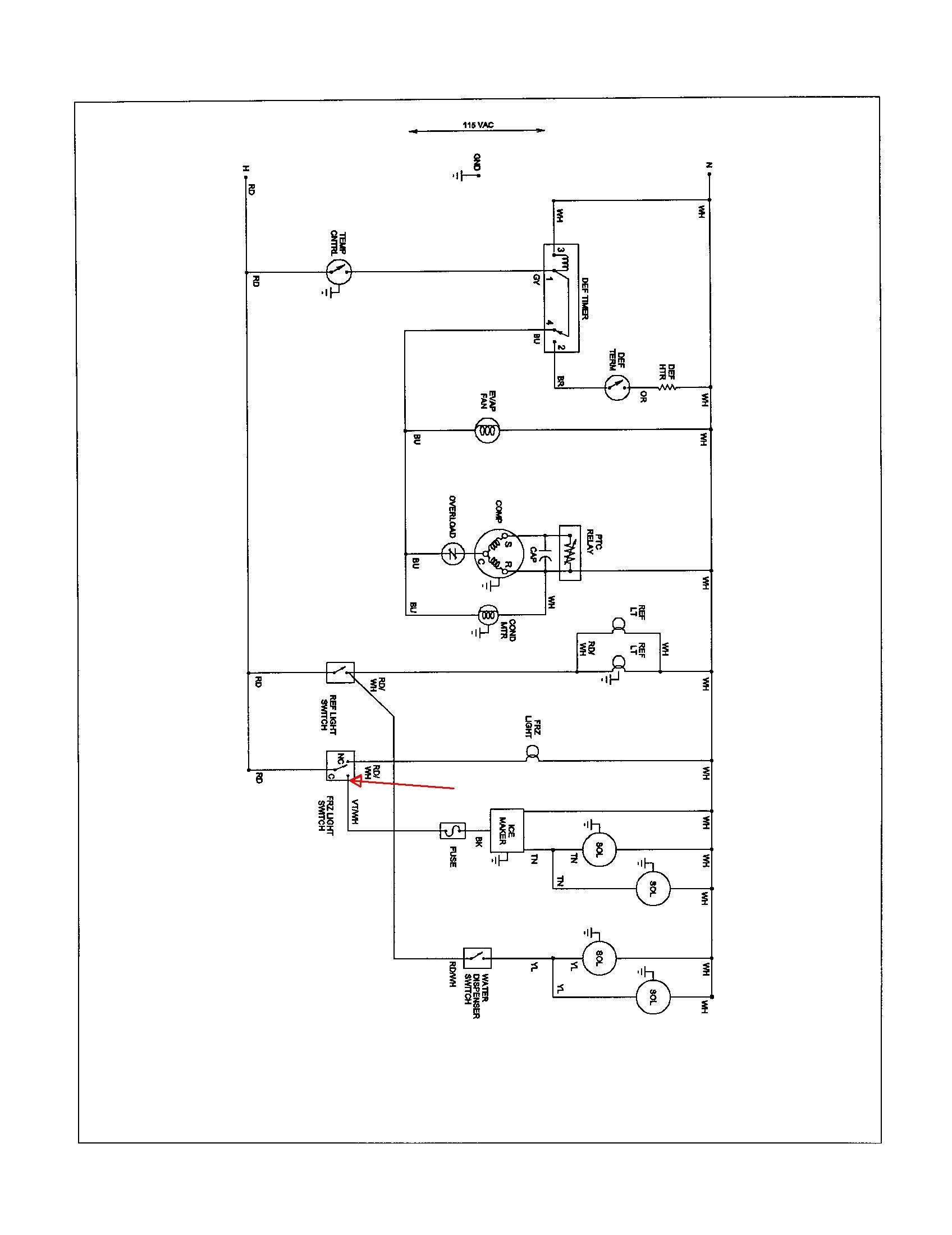 model arb9059cs amana. ice maker will not make ice. no ... amana thermostat wiring diagram #15