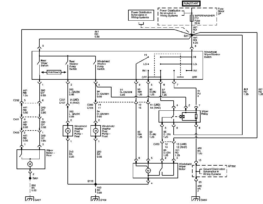 wiring diagram of a 2005 aveo wiper system switch to relay to motor on wiper motor wiring diagram chevrolet
