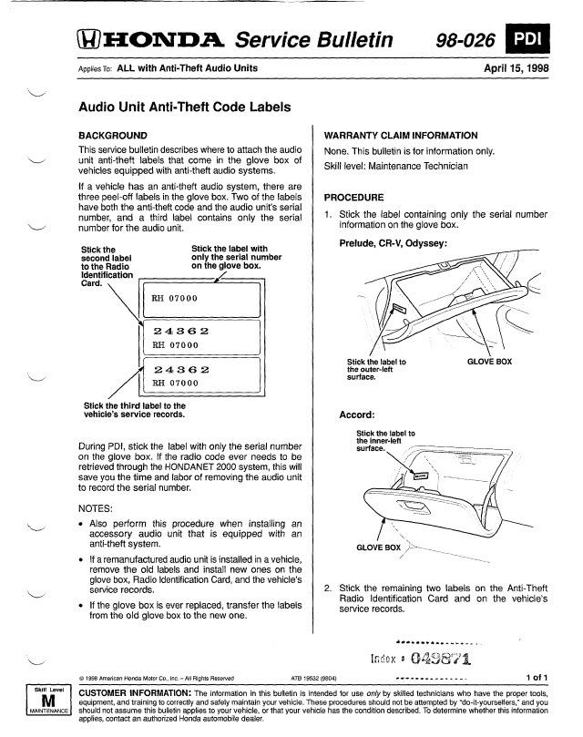 Rareralfind 2000 Honda Accord Radio Code Serial Numberrhrareralfindtumblr: 2000 Honda Accord Radio Reset At Gmaili.net