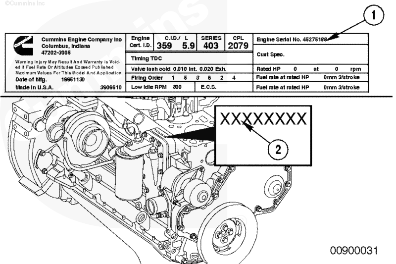 cummins 5.9 engine serial number location