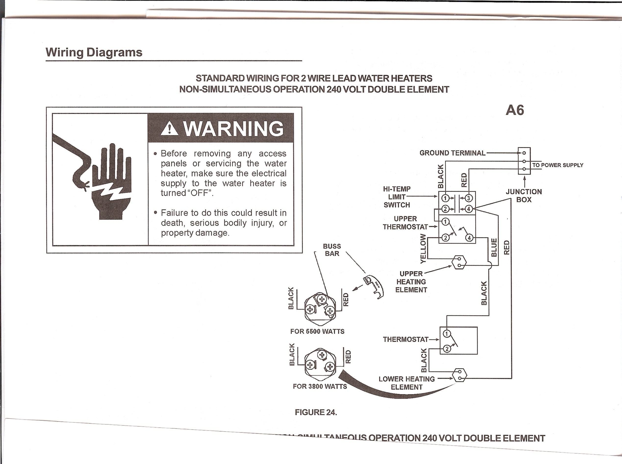 purchased a new sears kenmore electric water heater 40 gallon i ll send another copy in jpeg graphic diagram