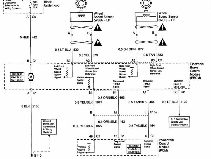 7f3ay Chevrolet Silverado 1500 Rear Wheel Speed Sensor Circuit