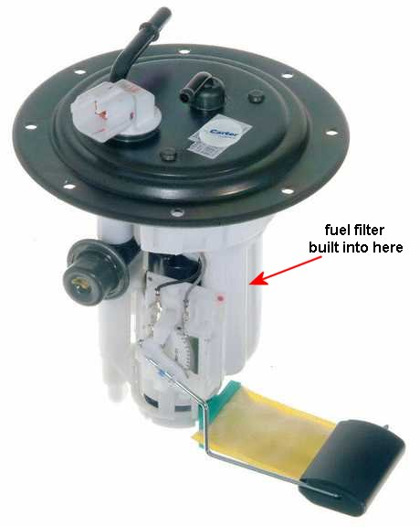 is my fuel filter in the gas tank with the fuel pump  or