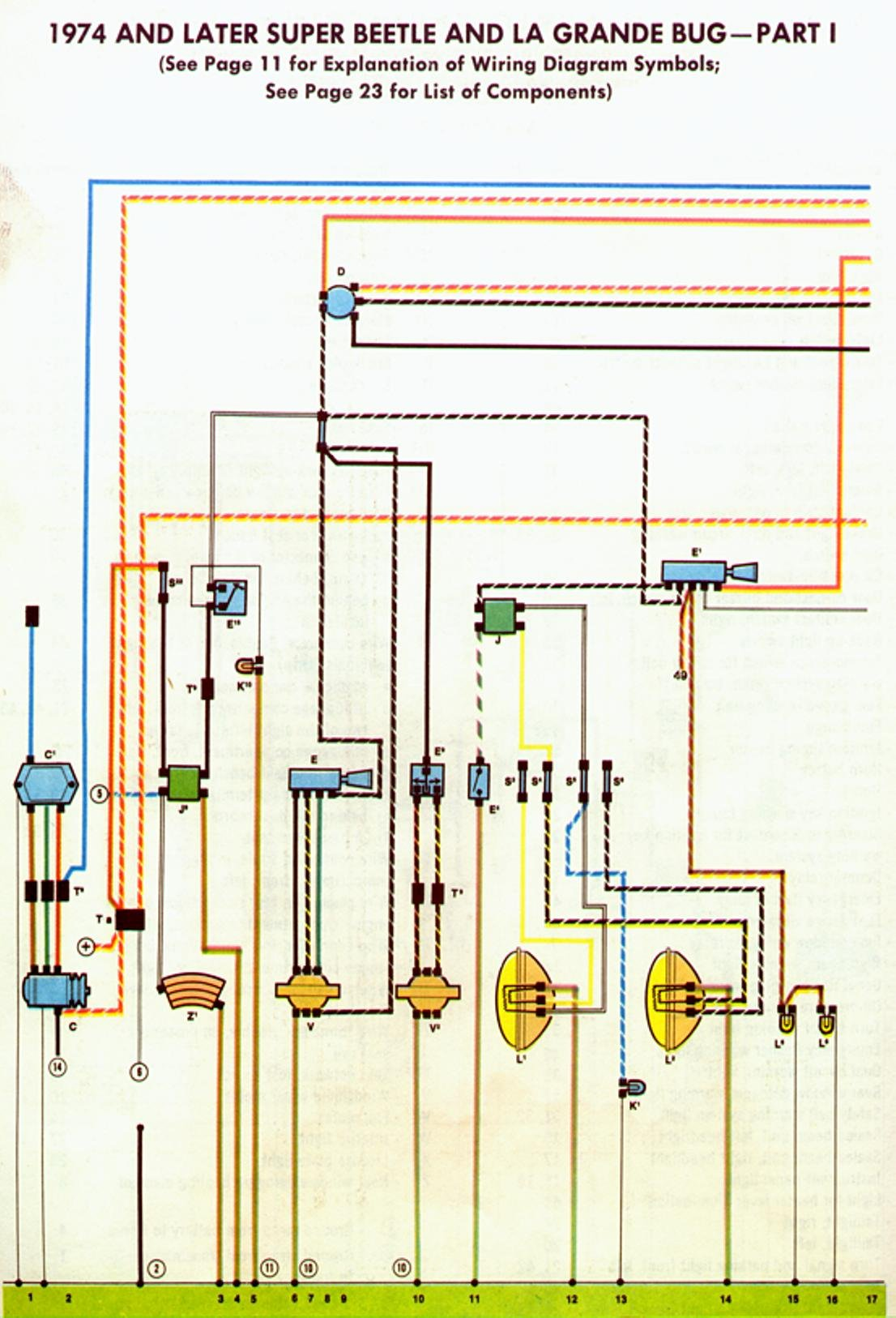 electronic wiring diagram symbols 1978 vw bug fuel injected easy to read wire diagram.
