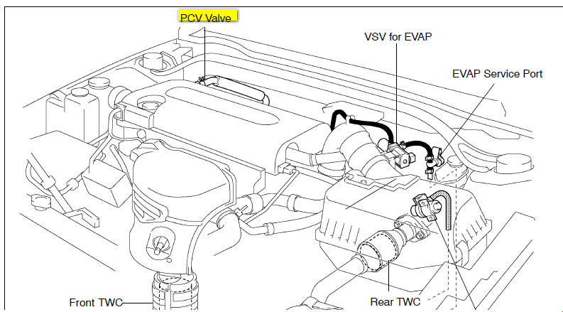 89 Chevy Throttle Body Diagram besides 95 Toyota 3 4 Engine Diagram likewise 7g7nq Pcv Valve Located Valve Cover 2002 Toyota further Toyota Camry 2001 Toyota Camry Start Up also I Need To Get A Vacuum Diagram For A 2002 Nissan Xterra. on toyota tacoma iac valve location