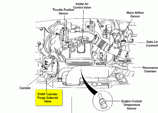 Chevy Tahoe Evap Canister Purge Hose furthermore 2009 Hyundai Accent Canister Purge Valve Location likewise Fuel Vapor Canister Location as well 7iu5p Evap Purge Valve Located 2001 Kia Sportg together with Saturn Vue Purge Valve Location. on bad purge valve solenoid