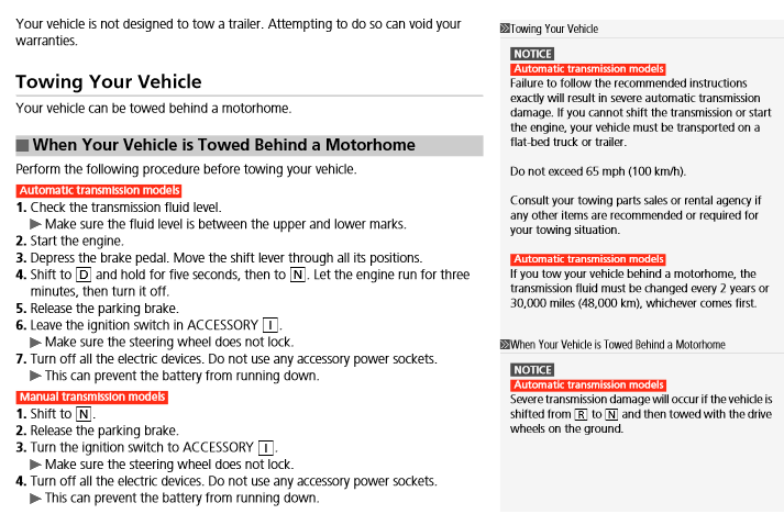 Fit: can we flat tow our 2013 Honda fit, automatic transmission?