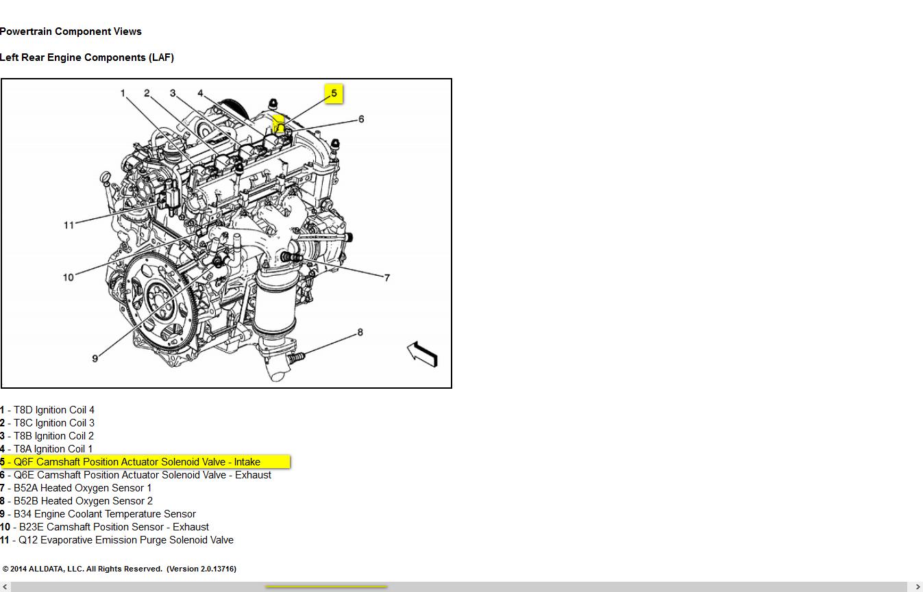 on 2009 chevy hhr camshaft position sensor location