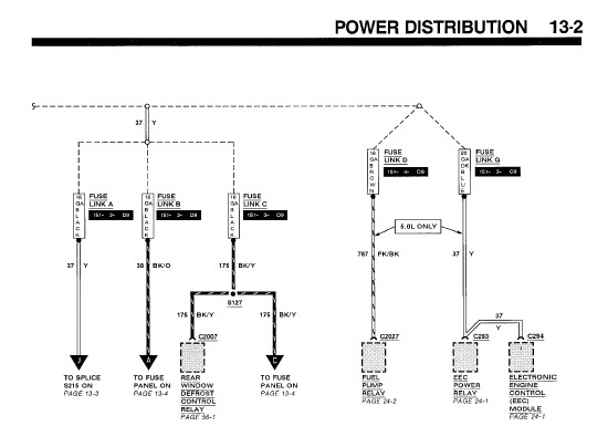 1992 mustang  wire diagram for the starter solenoid relay