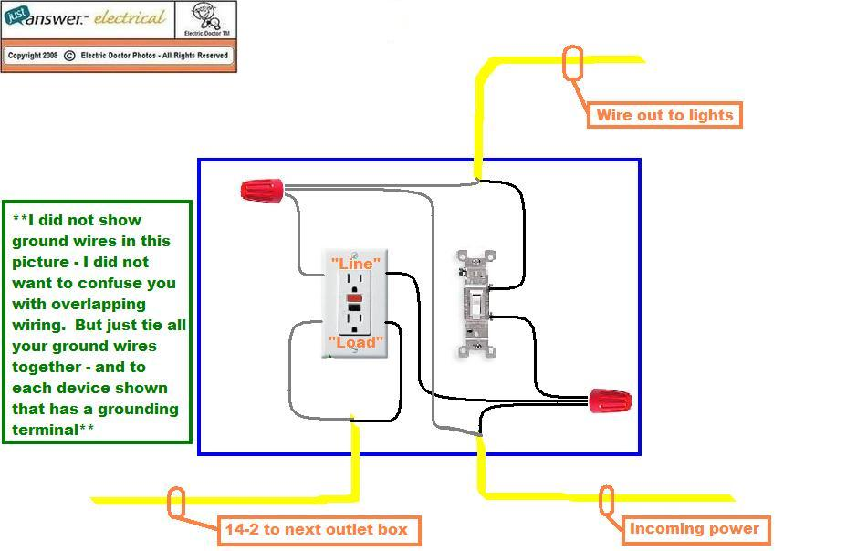 how do i connect a gfci outlet to a single pole light switch ok here is a diagram just disregard the wiring coming from the load side but everything else will be relevant
