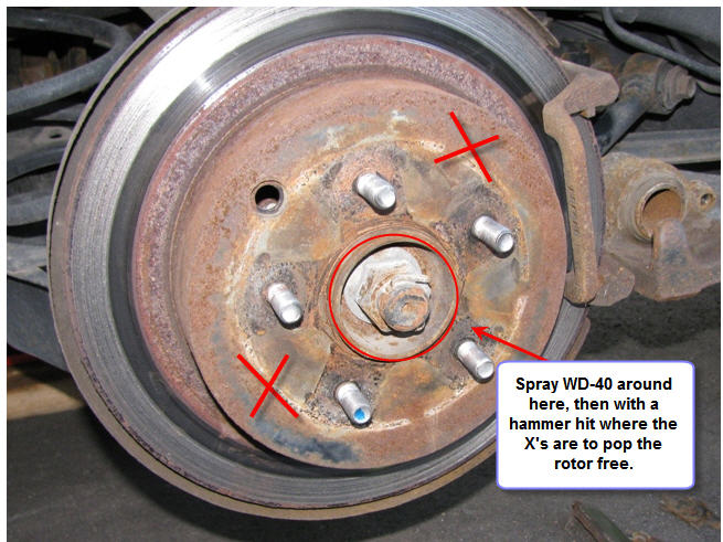 How To Get A Rusted Rotor Off A Car