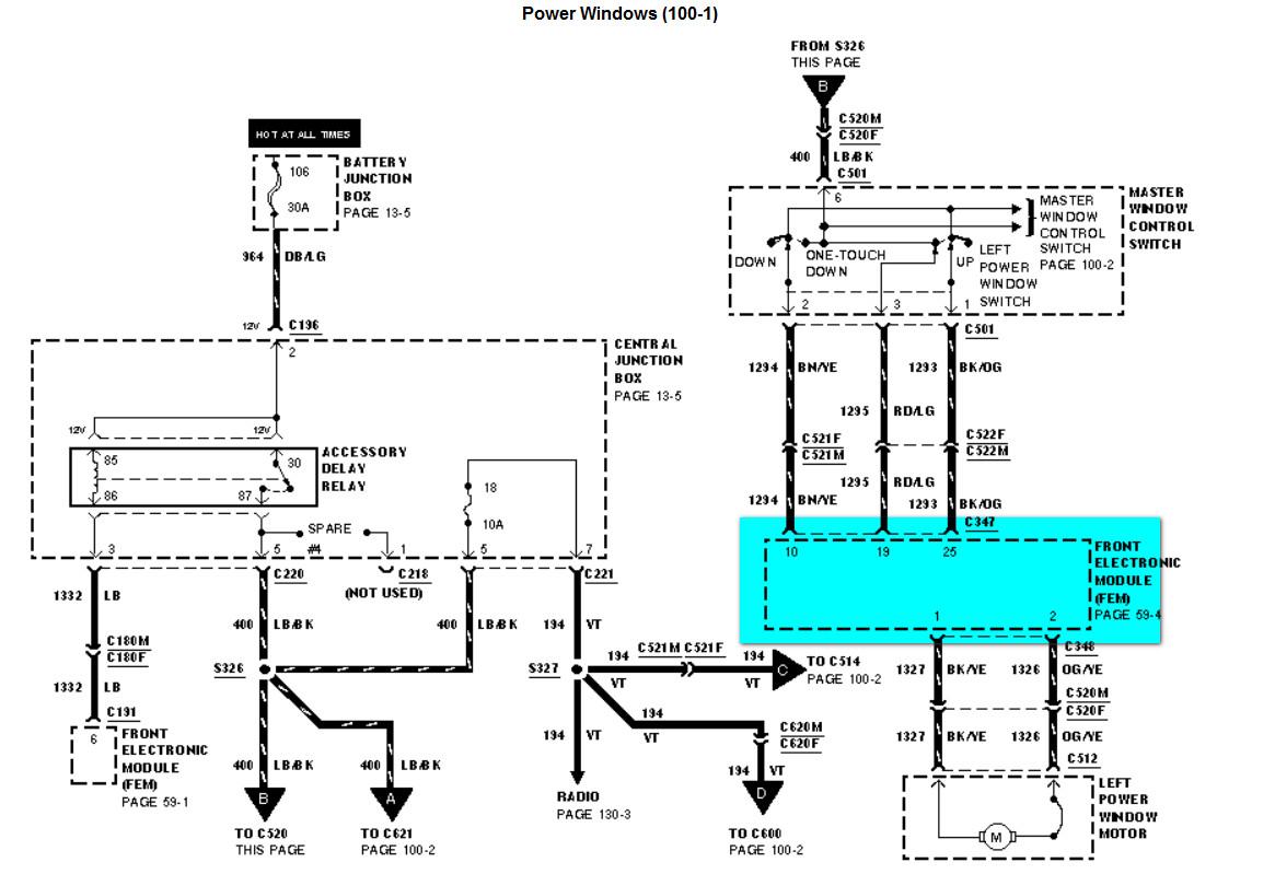 Ford Windstar Power Window Relay Location