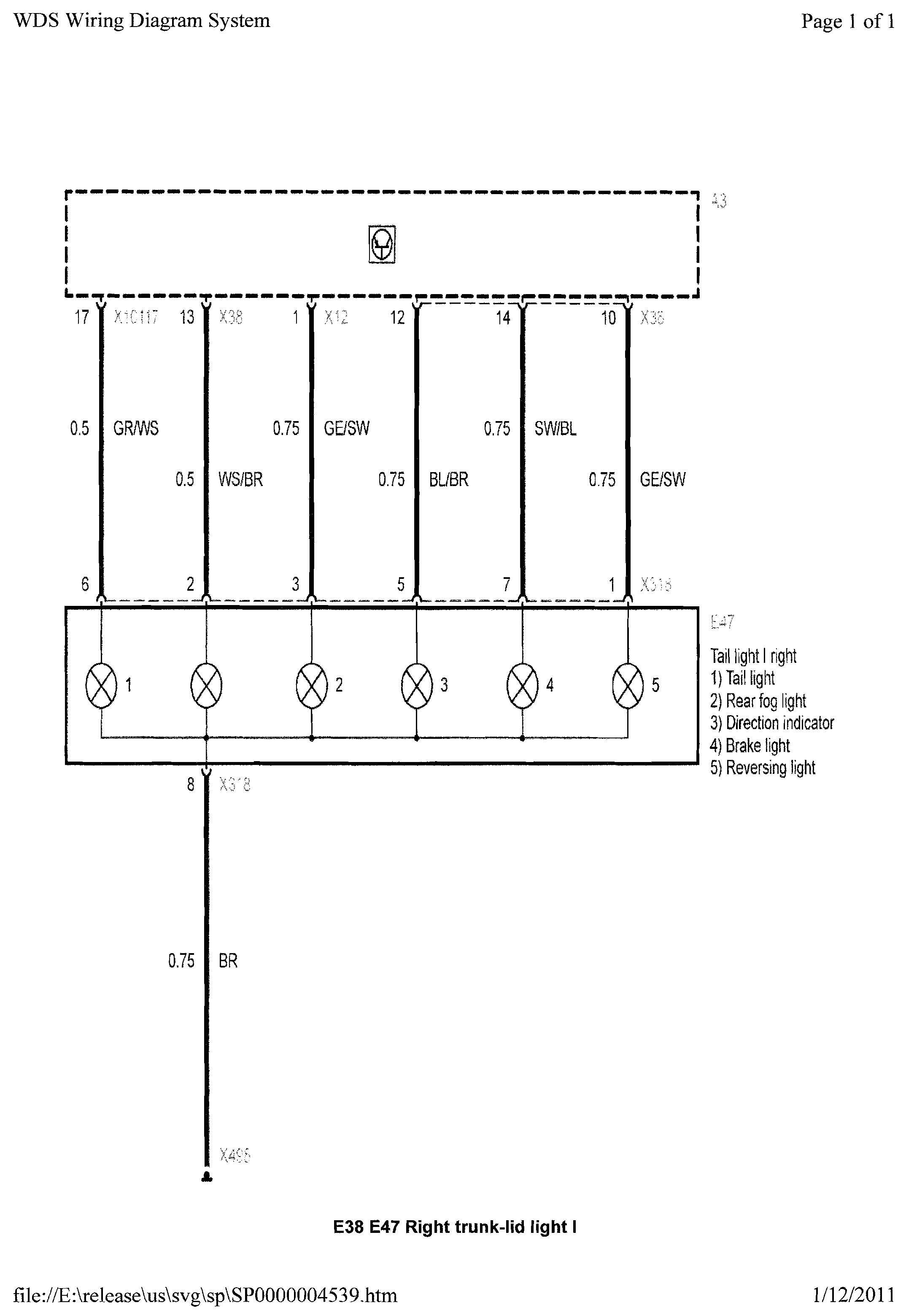 e39 light wiring diagram