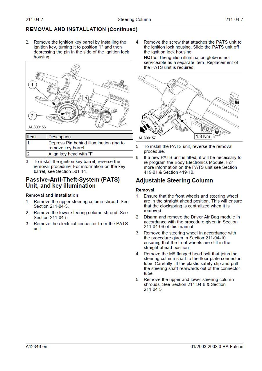 ford falcon how to remove a ba ignition barrel. Black Bedroom Furniture Sets. Home Design Ideas