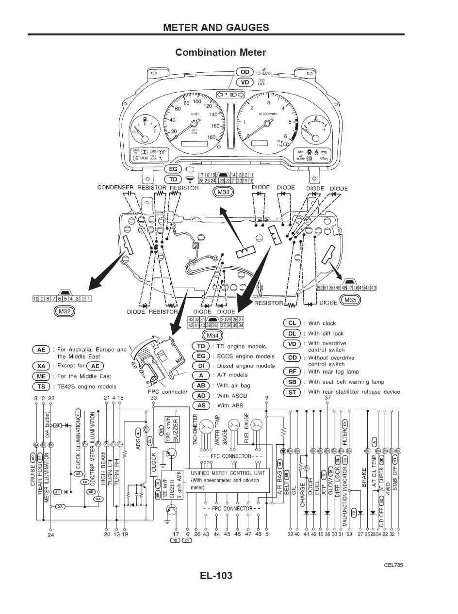 2000 nissan maxima instrument cluster diagram
