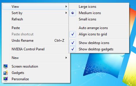 How do I change desktop icon size