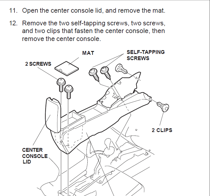 [Remove The Center Consal For A 2009 Acura Tsx]