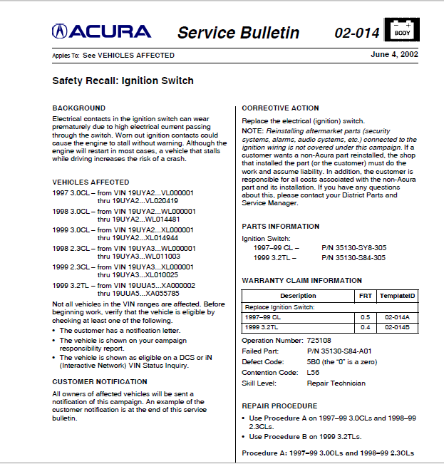 Acura Tl Cracked Dash Recall
