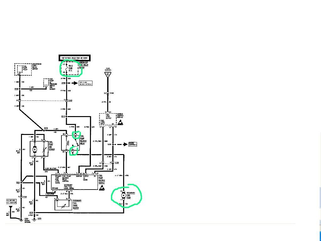 i have a 1998 chevy 3500hd truck that has a fuel system problem the ign e fuse 10 amp supplies 12v to the balance pump when the module turns it on there must be 12v to the rear tank pump look at the diagram i provided