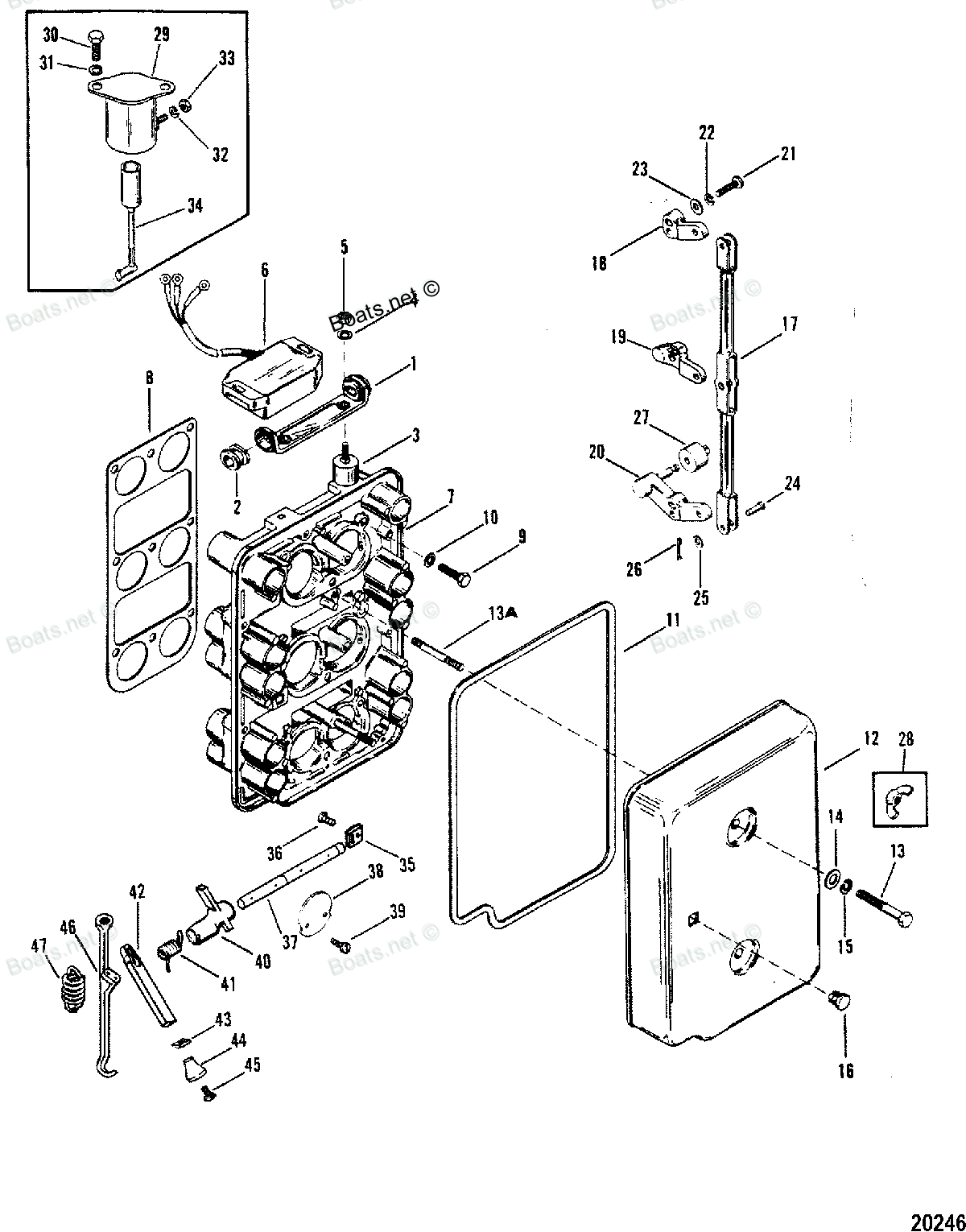Mercury Outboard Lower Unit Schematic additionally Picture Of Engine Labeled Newbeetle Org Forums also 6o9ru 1984 Mercury Black Max 150 Idle When Go likewise Carb in addition Starter Assembly Manual. on mercury 18 hp wiring diagram