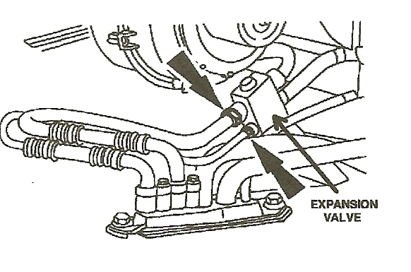 where is the orifice tube located on my 97 ford expedition