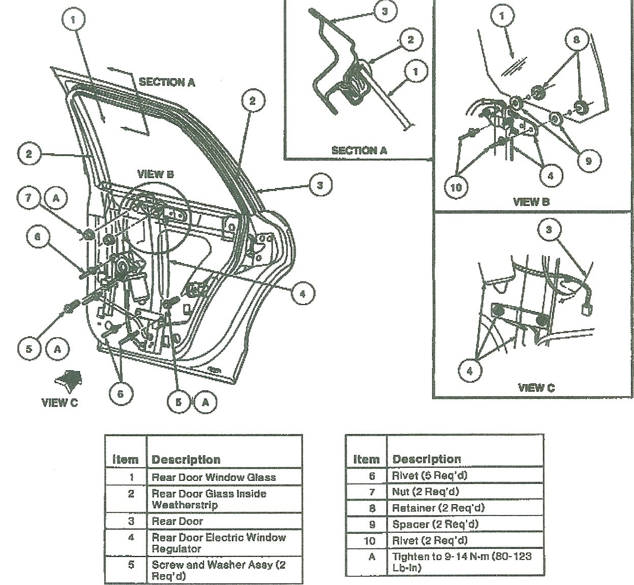 Rear Door Regulator Removal on 2000 Lincoln Ls Window Parts Diagram