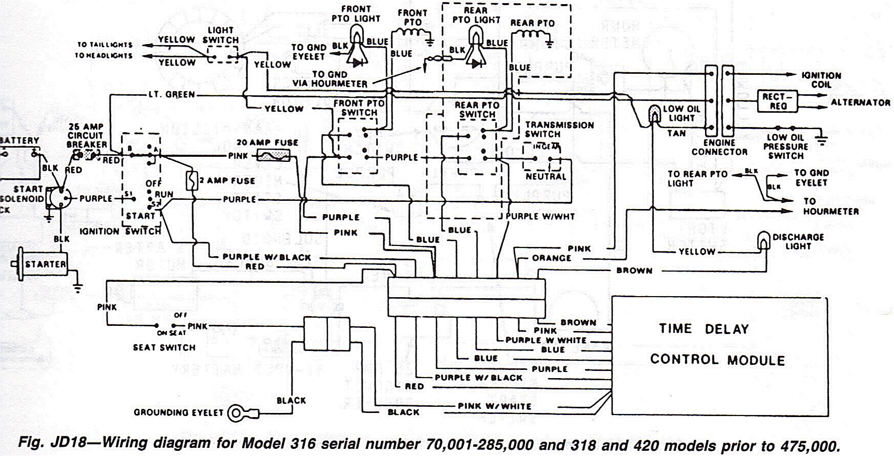 john deere 420 wiring diagram  | 1050 x 800