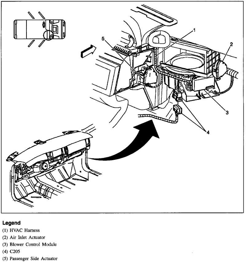 where is the mode actuator located at in a 1997 buick park