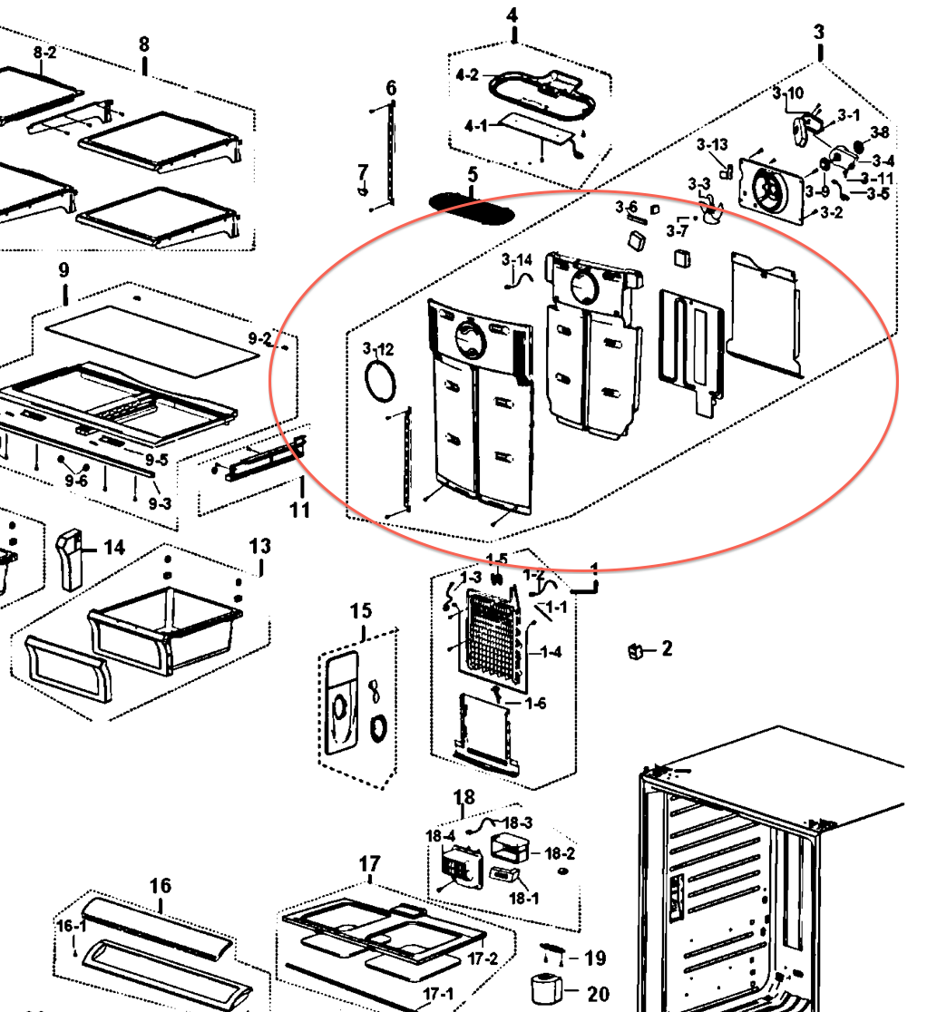 samsung rf263aers fan making noise  where is it located