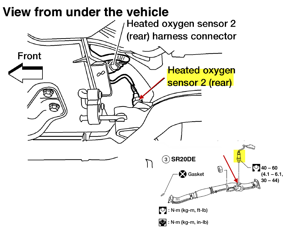 nissan sentra o2 sensor downstream location