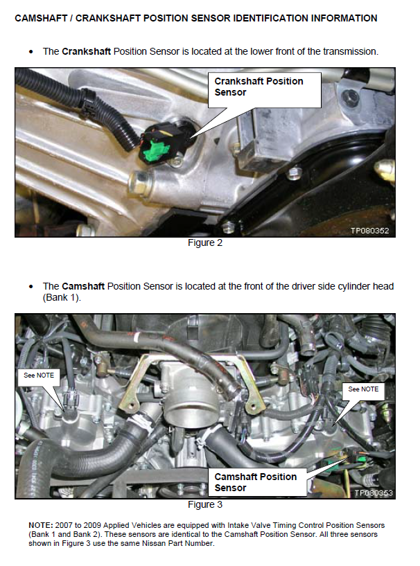 2007 Nissan Armada Has Code Of P1140 Replaced Cam Sensor