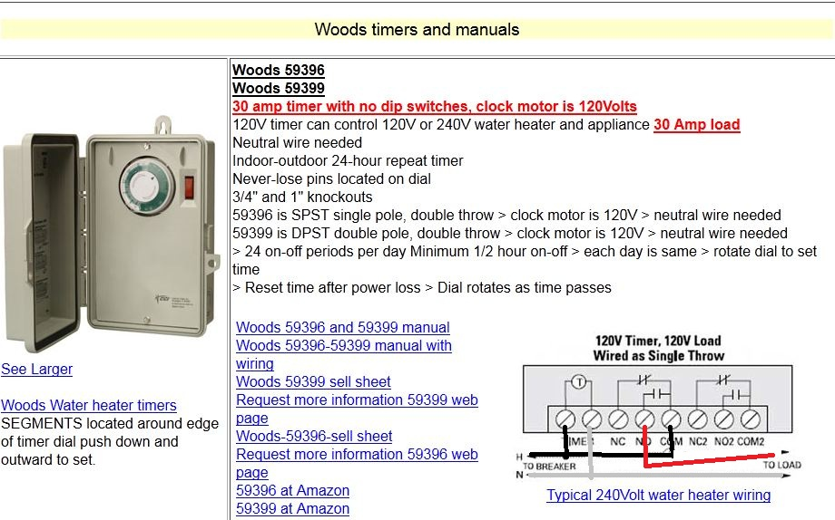 I Am Wiring A Woods Timer For A Pool Gt Woods Timer Model