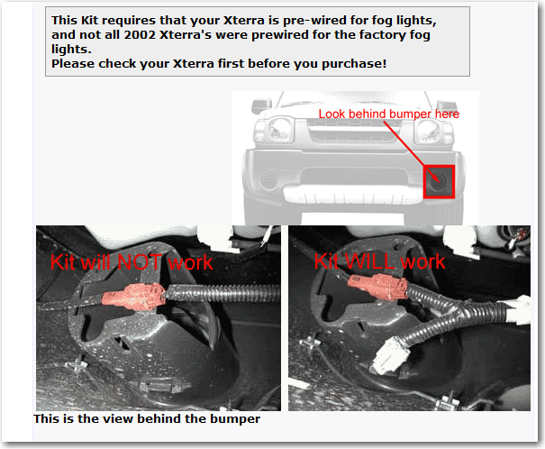 nissan xterra hi im about to install factory fog lights my 03 you will need to inspect to see if your xterra is pre wired for the lights first here is a pic thanks roy graphic
