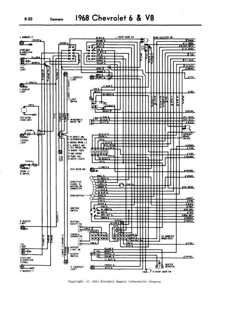 1968 Camaro Wiring Diagram: 1968 camaro  a complete front headlights wiring diagram  Rally  Sport,