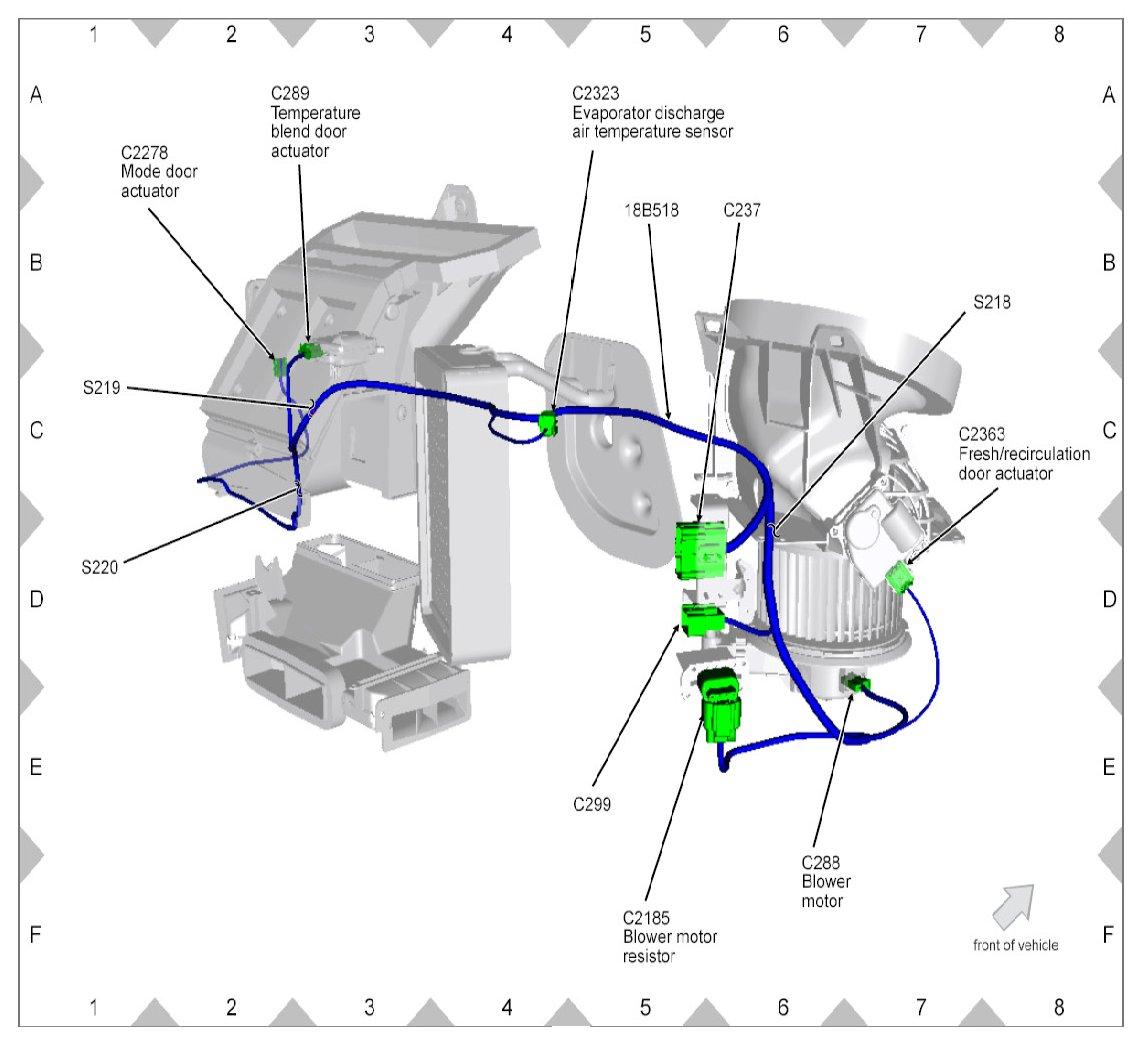 location of blower motor resistor ford explorer and